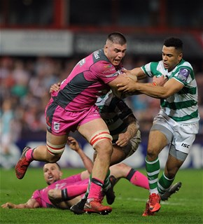 e7be888b73f GLOUCESTER, ENGLAND - APRIL 20: Jake Polledri of Gloucester Rugby is  tackled by Zach