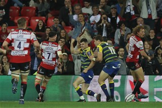 e184121605f BILBAO, SPAIN - MAY 11: Tomos Williams of Cardiff Blues celebrates after  scoring a